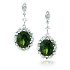 Stunning green diamond earrings