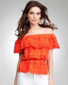 5. Off Shoulder Crochet Ruffle Top for sunset cocktails... #bebe #wishesanddreams