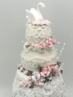 Swan Wedding Cake Topper Three Tier Cake by NatalieOrigStudio