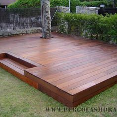Pergola Ideas For Small Backyards Backyard Plan, Small Backyard Landscaping, Backyard Patio, Patio Deck Designs, Patio Design, Floating Deck, Outside Patio, Small Backyards, Pergola Ideas