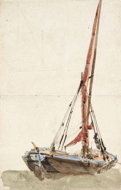 David Cox 'A Ship. Verso: Open Landscape', date not known