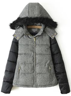Grey Faux Fur Hooded Long Sleeve Parka