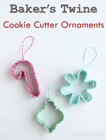 Christmas ornaments from cookie cutters wrapped in bakers twine!