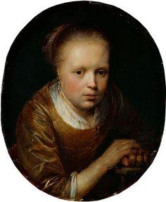 Gerrit Dou: jong meisje aan een tafel. ca. 1635-1640. Staatliches Kunstsammlungen, Dresden. Dit meisje verschilt van de vele ovale portretten van Dou van vrouwen en meisjes. Haar pose is onconventioneel en haar handen rusten op een console. Deze compositie heeft Dou waarschijnlijk van Rembrandt. Rembrandt, Gerrit Dou, Potrait Painting, Dutch Golden Age, Dutch Painters, Dresden, 17th Century, Black Backgrounds, Art Pieces