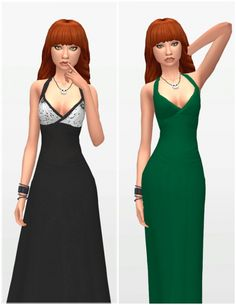 Deeetrons X Long Dress Recolors by Amber at SimsWorkshop via Sims 4 Updates