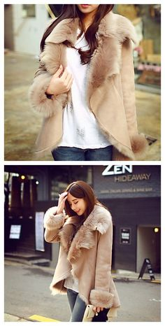 Leather grass Coat Faux Fur Tops, cool to wear in the cold winter.