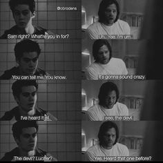 Sam and Stiles in Eichen House.<<They'd sass the hell out of each other and it's be beautiful. Supernatural Crossover, Supernatural Funny, Teen Wolf Funny, Teen Wolf Memes, Super Teen, Teen Tv, Vampires And Werewolves, Fandom Crossover, Fandoms
