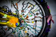 """""""Then It Turned and Spoke""""  A very bedazzled bicycle adorned with a colorful assortment of trinkets. Image created in the hot Palm Desert near Indian Well, California. For a better view please click on the photo. Image created by Paul W. Koester.   Enjoy and Pin!!!"""