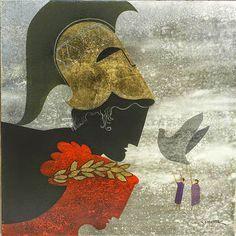 Σχετική εικόνα Greece Painting, Greek Beauty, 10 Picture, Greek Art, Conceptual Art, Mid Century Design, Unique Art, Printmaking, Illustration Art