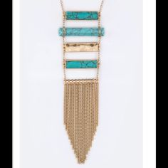 ONLY 1Turquoise Fringe Bar Necklace Gorgeous Long Turquoise Bar Necklace. Absolutely gorgeous rich turquoise color. Stunning!!!! Jewelry Necklaces