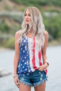 Top, Tank Top, American Flag Top, Racerback top, Striped Top, Stars Top, Cute, Fashion, online Boutique. Modern Vintage Boutique