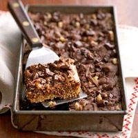 Tri-level Brownies: 3 luscious layers -- one nutty & chewy, another thick & fudgy, and one smooth & creamy