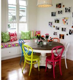 Eclectic Furnishings -- Dining Room Set with different colored chairs