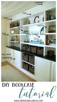 DIY Bookcase Tutorial (DIY built in, all the details!!) - Artsy Chicks Rule®
