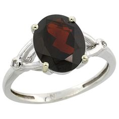 Sterling Silver Diamond Natural Garnet Ring Oval 10x8mm 38 inch wide size 10 * Check out the image by visiting the link.
