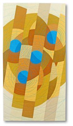 """Quartet, 37 x 19"""", by Liz Kuny, contemporary quilt artist"""