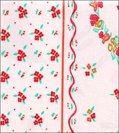 Pictures of Ribbons and Flowers Red Oilcloth