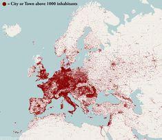 Каждая точка–город с населением больше 1000 человек.