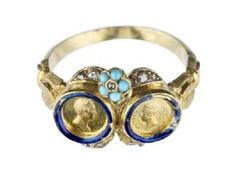 This finger ring commemorates the marriage of Queen Victoria and Prince Albert on 10 February 1840. Six dozen of these rings were ordered from the royal jewellers, Rundell, Bridge and Rundell, whose shop was on Ludgate Hill. The royal couple presented the rings to their friends and relations at the time of their marriage. - Museum of London