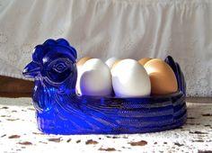 Vintage Hen Egg Tray Cobalt Blue by cynthiasattic on Etsy, $32.00