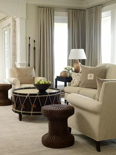 Family Room | Sarah Richardson Design Love the coffee table in the middle--not to animal; but reminds me of a big drum