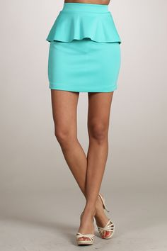 Mint Peplum Skirt + White Strappy Heels