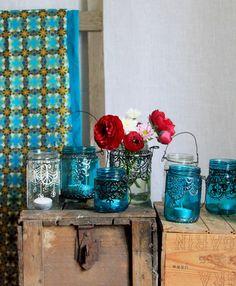Orientaliska ljuslyktor av gamla glasburkar. DIY, egna lyktor, glasburkar, glasfärg, ljuslyktor, måla på glas, orientaliska lyktor, pyssel, syltburkar. Lanterns. Jar.