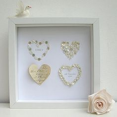 Personalised Hearts Picture but use the tiny shells from Sanibel
