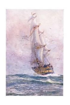 size: Giclee Print: The 'Foudroyant', One of Nelson's Old Ships, 1915 by William Lionel Wyllie : Frame My Photo, Tropical Art, Aviation Art, Beach Landscape, Sailing Ships, Find Art, Giclee Print, Scenery, Around The Worlds