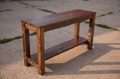 Sofa Table / End Table / Entryway Table. Farmhouse table style solid wood furniture in dark walnut. Farmhouse Sofa Table, Rustic Sofa Tables, Wood Sofa Table, Rustic Kitchen Tables, Solid Wood Table, Entryway Tables, Rustic Couch, Picnic Tables, Console Tables