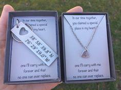 SALE PRICE Boyfriend Gift Couples set-Custom Hand Stamped
