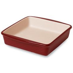 """Stoneware Square Baker — Cranberry - The Pampered Chef™  Present picture-perfect brownies coffee cakes or corn bread. A rich cranberry glaze adds warmth to your table. Great for reheating leftovers, too. 9"""" x 9"""", 11 cups.  Visit: https://pamperedchef.biz/knwest"""