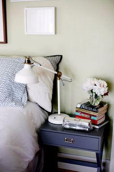 blue + white bedside