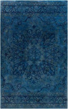 Antique Wash Overdyed Rug in Navy, Cobalt and Teal