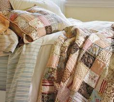 Nadine Patchwork Quilt & Sham from Pottery Barn. Shop more products from Pottery Barn on Wanelo. Pottery Barn Quilts, Postage Stamp Quilt, Modern Outdoor Furniture, Blog, Quilt Patterns, Quilting Ideas, Sewing Projects, Fabric, Soft Colors