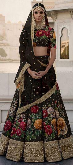 Black Lehenga, Floral Lehenga, Silk Lehenga, Sari, Anarkali, Silk Dupatta, Designer Bridal Lehenga, Indian Bridal Lehenga, Choli Designs