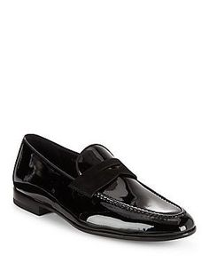 Magnanni Leather & Suede Penny Loafers - Black - Size