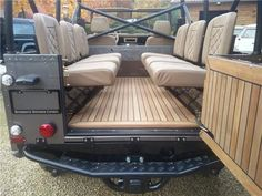 Land Rover Defender 110 Soft Top, full leather, teak floor, mohair top - 6 Still can't decided if I like wood in a Landy or not! Land Rover Defender Pickup, Land Rover Defender Interior, Defender 90, Landrover Defender, Teak Flooring, Suv 4x4, Beach Cars, Nissan Patrol, Off Road Adventure