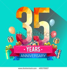 35 Years Anniversary celebration logo, 35th Anniversary celebration, with gift box and balloons, colorful polygonal design. - stock vector