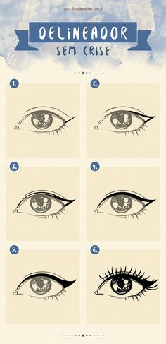 9 infográficos para você se tornar uma expert em maquiagem It is not always easy to draw a perfect eyeliner or collar false eyelashes. If you have ever had any of these difficulties, this is for you! Makeup Goals, Makeup Tips, Hair Makeup, Professionelles Make Up, How To Make Hair, Brown Eyeliner, Make Up Videos, Beauty Make Up, Makeup Inspiration