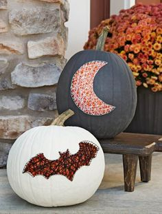 Jazz up painted pumpkins with crafts nails and string for a spooky spiderweb effect. More no-carve #pumpkin decorating ideas: http://www.midwestliving.com/holidays/halloween/easy-no-carve-pumpkin-decorating/