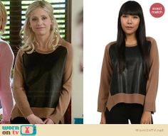 Sydney's tan sweater with black leather front on The Crazy Ones.  Outfit Details: http://wornontv.net/30847/ #TheCrazyOnes