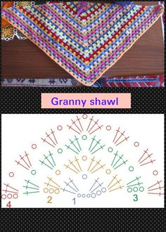 Best 12 Reflections Shawl Mommy & Me Free Crochet Pattern – Page 581316264382335219 Crochet Triangle, Granny Square Crochet Pattern, Crochet Diagram, Crochet Chart, Crochet Granny, Crochet Motif, Crochet Stitches, Crochet Patterns, Crochet Fabric