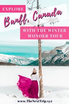 The ultimate tour to explore Banff National Park in Winter. Go snowshoeing on Lake Minnewanka take the Banff Gondola to Sulphur Mountain visit Bow Falls and enjoy Canadian treats. Alberta Travel, Banff Alberta, Alberta Canada, Canadian Travel, Canadian Food, Canadian Rockies, Quebec, Toronto, Vancouver