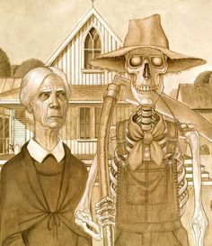 Lancre Gothic by Paul Kidby. Keywords American Gothic, Terry Pratchett, Discworld, Death, and Bill Door.