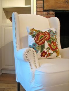 Fake reupholster with slipcover and decorative nails