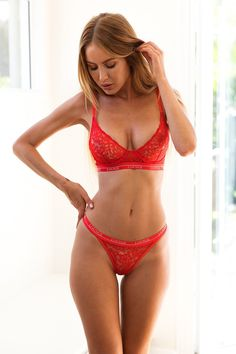 Red Balcony Bra and Thong Set | Lace Bra