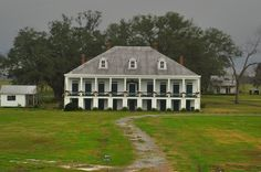 Saint Joseph plantation, view from a levee across River Road. Vacherie, Louisiana