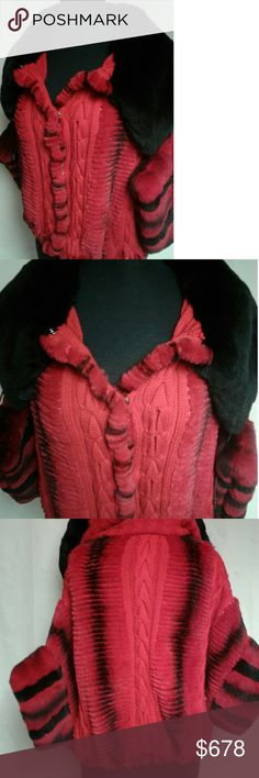 "House of Luxe Rex Rabbit Dolman Sweater Jacket House of Luxe Sheared Rex Rabbit Dolman Sleeve Sweater Jacket, This Sweatee Jacket Is Made Of Red & Black Sheared Rex Rabbit & Red Wool. It Features An Oversized Rex Rabbit Color, Dolman Sleeves & Variegated Vertical Fur Panels. Ruched Hem & Snap Front Closures. It Fits A Chest From 34"" - 40"". This Fur Is New With Tags. Please Feel Free To Message Us With Any Questions. House of Luxe Jackets & Coats"