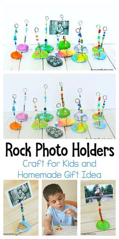 Painted Rock Photo Holder Craft for Kids: These make perfect homemade gifts for Christmas, Mother's Day or any special day! A fun art project for children of all ages! #buggyandbuddy #rockpainting #homemadegift #craftsforkids #kidscrafts #artforkids #artprojects